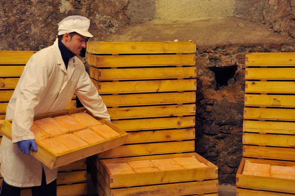 Le lavorazioni in cella di stagionatura avvengono ancora manualmente secondo una consolidata tradizione